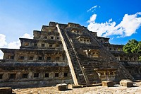 Low angle view of a pyramid, Pyramid Of The Niches, El Tajin, Veracruz, Mexico