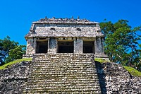 Low angle view of old ruins of a temple, Temple Of The Count, Palenque, Chiapas, Mexico