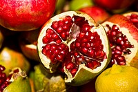 Close-up of pomegranates, Tlacolula De Matamoros, Oaxaca State, Mexico (thumbnail)