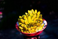 Close_up of bananas in a fruit bowl, Agua Azul waterfalls, Chiapas, Mexico