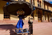 Statues in front of a railroad station building, Three Centuries Memorial Park, Aguascalientes, Mexico