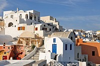View over the village with the typical cycladic architecture, Oia, Santorini, Greece