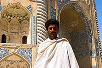 Man standing in front of the Shrine of Khwaja Abu Nasr Parsa, Balkh Mother of Cities Balkh province, Afghanistan, Asia