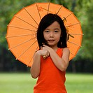 Portrait of a girl holding a parasol (thumbnail)