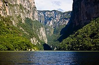 Panoramic view of a lake with a mountain range in the background, Sumidero Canyon, Chiapas, Mexico