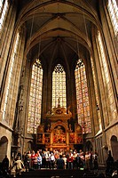 Choir rehearsal in the town church Saint Dionys Esslingen at the Neckar Baden Wuerttemberg Germany