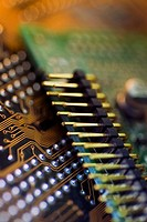 High angle view of a circuit board
