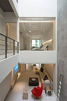 Su Residence, Jhubei City, Hsinchu County, 2005. Double height living space. Taiwan. Architect: Vision Design Studio Jeff Chao