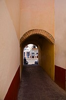 Alley passing through an archway, Alcaiceria De Gomez, Zacatecas State, Mexico