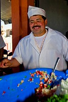 Chef preparing food, Morelia, Michoacan State, Mexico