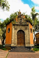 Facade of an octagonal chapel, Plaza De La Concepcion, Mexico City, Mexico