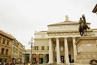 Statue of Giuseppe Garibaldi in front of a theatre, Piazza De Ferrari, Teatro Carlo Felice, Genoa, Italy
