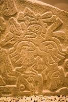 Prehispanic artwork at the museum of Monte Alban, Oaxaca, Mexico