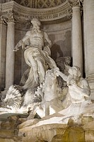 Close up view of central statues, Trevi Fountain, Rome, Italy. Architect: Gian Lorenzo Bernini