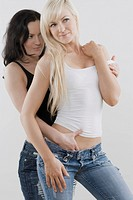 Female homosexual couple romancing