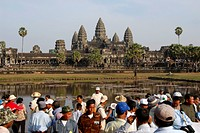Many tourists in front of temple Angkor Wat Siem Reap Cambodia
