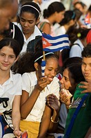 School kids at a march, Havana, Cuba, West Indies, Central America