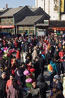 People crowding the street at Changdian Street Fair during Chinese New Year, Spring Festival, Beijing, China, Asia