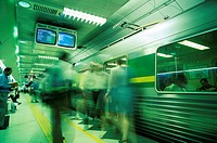 Passengers boarding train at Parliament Station in the City of Melbourne, Melbourne, Victoria, Australia, Pacific