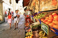 Fruit displayed outside shop, Calvi, Corsica, France, Europe