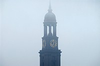 St. Michaelis church in the fog in Hamburg, Germany