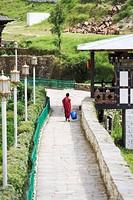 Buddhist monk, Trongsa Dzong, Trongsa, Bhutan, Asia