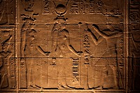 Relief carvings adorn the walls of the Temple of Philae, UNESCO World Heritage Site, near Aswan, Egypt, North Africa, Africa