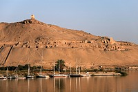 Overlooking the river Nile and the Tombs of the Nobles, Aswan, Egypt, North Africa, Africa
