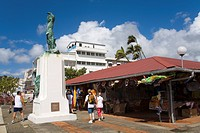 Belain d'Esnambuc Statue, Craft Market in La Savane Park, Fort_de_France, Martinique, French Antilles, West Indies, Caribbean, Central America