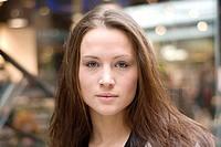 Beautiful brunette woman in urban setting