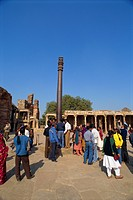 The Qutub Minar, the rustless Iron Pillar weighing six tons, seven meters tall, Delhi, India, Asia