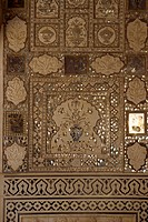 Mirrorwork in interior of Amber Fort and Palace, built by Maharajah Man Singh in 1592, Jaipur, Rajasthan state, India, Asia