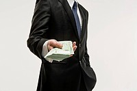 Businessman holding paper moneys