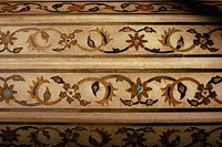 Detail of inlay work, Red Fort, Agra, Uttar Pradesh state, India, Asia