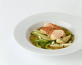 Clear soup with vegetables and steamed sturgeon
