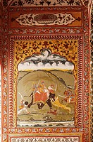 Detail of a painted wall in the public reception area, Kuchaman Fort, Kuchaman, Rajasthan state, India, Asia