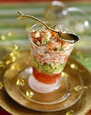 Shrimp salad with avocado and tomato coulis