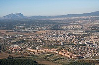 Spain, Catalonia, Barcelona, Barcelonés, Cerdanyola del Vallés, Montserrat mountain in background