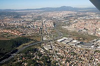 Spain, Catalonia, Barcelona, Barcelonés, Cerdanyola del Vallés (left), Sant Llorenç de Munt (top), N-150 road and C-58 freeway (autopista del Vallès),...