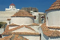Aerial view of the roof of the St. John Monastery, Hora, Patmos, UNESCO World Heritage Site, Dodecanese Islands, Greek Islands, Greece, Europe
