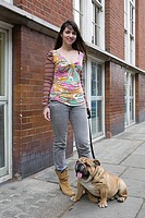 Woman and pet bulldog (thumbnail)