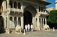 Gateway to the Inner courtyards, and guards, City Palace, Jaipur, Rajasthan state, India, Asia