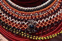 Close_up of Samburu decorative beads, Kenya, East Africa, Africa