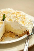 Coconut Cream Pie with a Slice Removed, Close Up