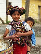 Local hill child and baby brother, Nebal area, Guatemala, Central America