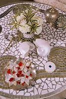 Detail of mosaic table in drawing room of new build home, New Delhi, India, Asia