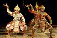 Traditional Khon dancers, Bali, Indonesia, Southeast Asia, Asia