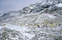 View over the Base Camp on Khumbu Glacier, 5300 m, Mount Everest, Himalaya, Nepal