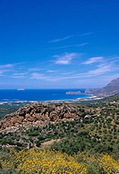 Aerial view of Falassarna coastline and beach, Falassarna, island of Crete, Greece, Mediterranean, Europe