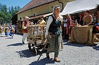 Woman in mediaeval medieval costume at move trails hay wagon with geese, knight festival Kaltenberger Ritterspiele, Kaltenberg, Upper Bavaria, Germany